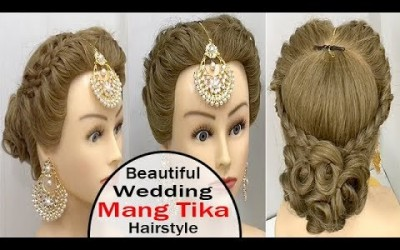 Asian-Wedding-Bridal-Beautiful-Hairstyles-with-Maang-Tika-Wedding-Hairstyles-Short-Hairstyles
