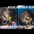 How-to-make-rose-flower-bun-for-long-hairs-simple-and-easy-bun-hairstyles