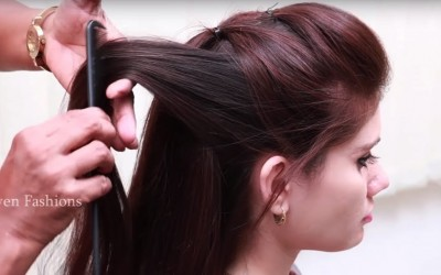Simple-Beautiful-Hairstyle-for-Long-hair-Party-Hairstyle-at-Last-Minute-hair-style-girl