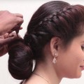 Wedding-Guest-Hairstyle-in-saree-Bubble-BUN-Hairstyle-for-Long-Hair-hair-style-girl