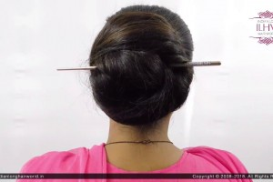 2-Minute-Elegant-Bun-Hairstyle-Easy-Updo-Hairstyles-Wow-to-use-bun-stick-for-Medium-Hair