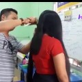 Village-lady-Thick-long-hair-cut-short