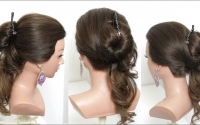 Cute-And-Easy-Hairstyle-With-Hair-Stick-For-Long-Hair