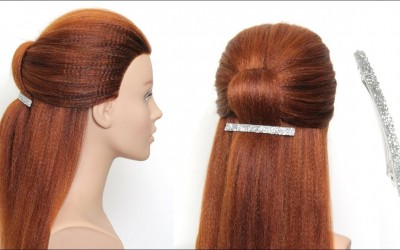 Simple-Hairstyle-With-Hair-Clip-For-Long-Hair