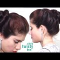 Simple-Twisted-Knot-Side-Bun-l-Hairstyles-For-Long-Hair-Tutorial-2018.