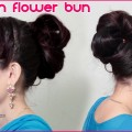 2-Minute-BUN-Hairstyle-For-Long-Hair-Flower-Bun-Hairstyles