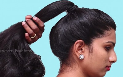 Long-Ponytail-With-Puff-Hairstyle-for-partyWedding-Easy-Hairstyles-for-Medium-long-hair-Updos