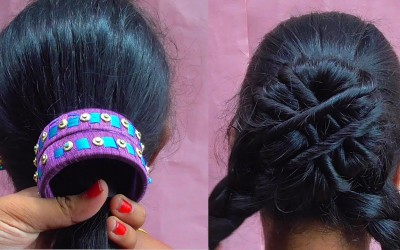 Messy-Bun-Hairstyle-How-To-Do-Bangles-Hairstyle-With-Bangle-For-Long-Hair-Cute-Hairstyles-For-Girls