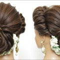 New-Latest-Hairstyle-With-Flower-Bun.-Bridal-Updo-For-Girls-And-Women