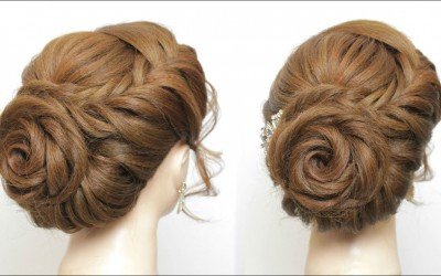 Rose-Hairstyle-For-Long-Hair.-Prom-Wedding-Braided-Flower-Updo.