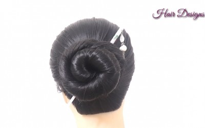 1-min-easy-cute-bun-How-to-use-bun-stick-Hairstyle-with-hair-stick-by-Hair-Designs