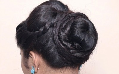 New-Latest-Hairstyle-With-Flower-Bun-Bridal-Updo-For-Girls-And-Women