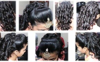 DIY-Make-hairstyle-with-curls-with-front-puff-easy-step-by-step-tutorial