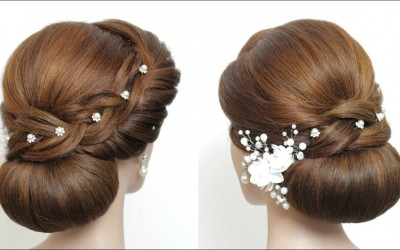 New-Low-Bun-Hairstyle-For-Long-Hair.-Latest-Bridal-Updo-Tutorial