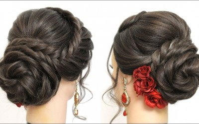 New-Bridal-Hairstyle-For-Girls-With-Flower-Bun.-Wedding-Updo