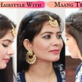 Easy-Hairstyles-for-Wedding-Hairstyle-with-Maang-Tikka-for-Medium-or-Long-Hair-Wedding-Hairstyle