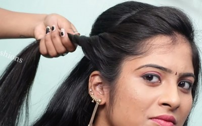 How-to-do-Hairstyle-for-long-hair-2019-Hairstyles-for-Party-wedding-function-Hair-style-girl