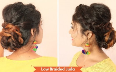 Low-Braided-Juda-Hairstyle-With-Twist-Medium-To-Long-hairstyle-wedding-Hair