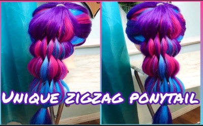 Unique-Zig-zag-Ponytail-Hairstyle-Hair-Tutorial-For-Long-Medium-Length-Hair