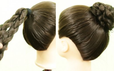Simple-updo-hairbun-Tutorial-High-ponytail-with-Juda-Hairstyles-Easy-hairstyle-KGS-Hairstyles
