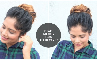 High-Messy-Bun-Hairstyle-with-Splitted-Puff-For-Medium-To-Long-Hair