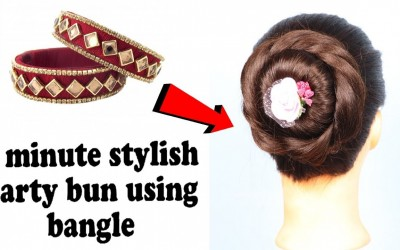 New-party-bun-using-bangle-summer-hairstyles-short-hairstyles-updo-hairstyles-hairstyle