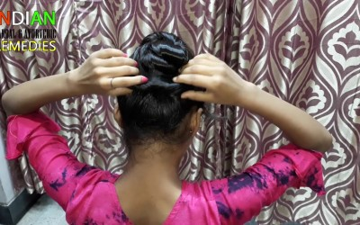 2-Easy-Self-Hairstyles-for-Girls-and-Women.-Braided-bun-hairstyles.