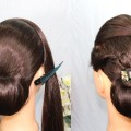 Beautiful-bun-hairstyle-with-trick-hairstyle-for-long-hair-updo-hairstyle-Bow-hairstyle