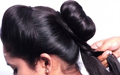 Latest-Party-hairstyle-for-long-hair-girls-Beautiful-hairstyles-for-saree-New-juda-hairstyle