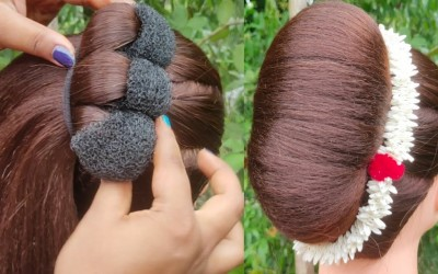 New-French-Bun-Hairstyle-For-Long-Hair-Easy-Hairstyle-Juda-Hairstyle-Hairstyle-