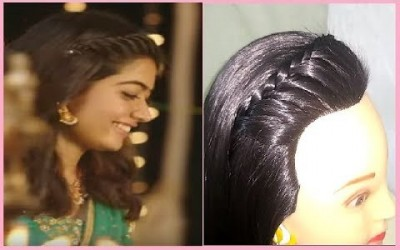 Rashmika-Inspired-Hairstyle-In-Dear-Comrade-For-Short-And-Thin-Hairs